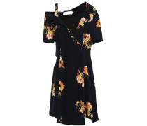 Cutout Floral-print Silk-crepe Mini Dress Black