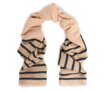 Striped metallic intarsia-knit scarf