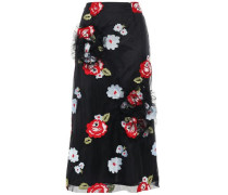 Embroidered Ruffle-trimmed Tulle Midi Skirt Black Size 12