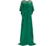 Embellished belted draped silk-satin gown