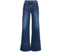 Faded High-rise Wide-leg Jeans Mid Denim  5