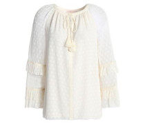 Ruffle-trimmed fil coupé silk-blend blouse