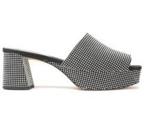 Woman Embellished Canvas Platform Sandals Black