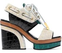 Deer color-block croc-effect patent-leather platform sandals