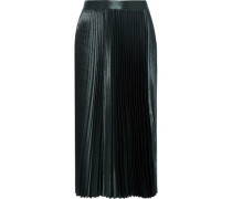 Woman Sue Pleated Satin-crepe Midi Skirt Forest Green