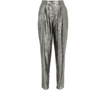 Metallic crinkled jacquard tapered pants