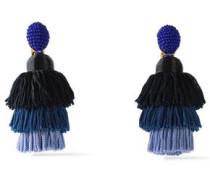 Gold-tone, Bead And Tassel Clip Earrings Indigo Size --