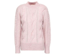 Crochet-trimmed Cable-knit Sweater Pastel Pink