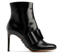 Woman Bow-embellished Glossed-leather Ankle Boots Black