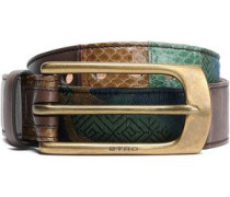 Paneled Jacquard, Leather And Elaphe Belt Army Green  5