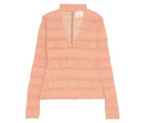Crochet-paneled stretch-cotton top