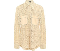 Robin Cotton-blend Leavers Lace Shirt Pastel Yellow