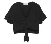 Mora cropped tiered ruffled crepe top
