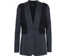 Bonnie crochet-paneled linen-blend blazer