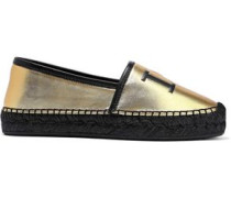 Printed Metallic Leather Espadrilles Gold