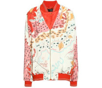 Satin-trimmed Printed Silk Bomber Jacket Tomato Red