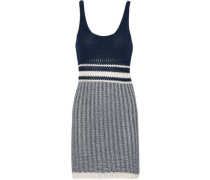 Ribbed open-knit cotton mini dress