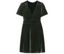 Crushed-velvet Mini Dress Dark Green