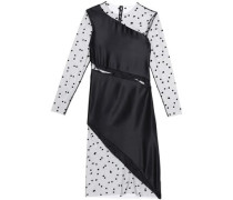 Swiss-dot mesh-paneled silk dress