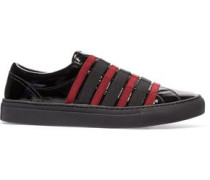 Paneled canvas and patent-leather slip-on sneakers