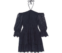 Waylon Off-the-shoulder Broderie Anglaise Mini Dress Midnight Blue