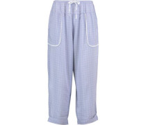 Cropped printed woven tapered pajama pants