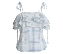 Tony Checked Ruffled Cotton-gauze Top White