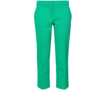 Satin-trimmed Cotton, Wool And Silk-blend Jacquard Tapered Pants Jade