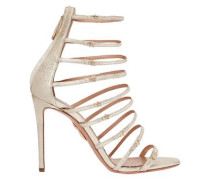 Woman + Claudia Schiffer Star Embellished Metallic Textured-leather Sandals Platinum