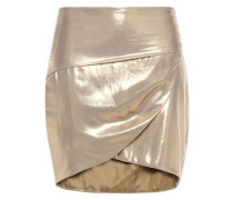 Woman Wrap-effect Lamé Mini Skirt Gold
