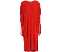 Draped Gathered Jersey Dress Red