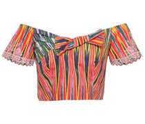 Carrie Off-the-shoulder Cropped Cotton Top Multicolor Size 12