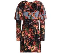 Gathered floral-print crepe mini dress