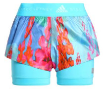 Printed layered stretch-jersey and techno fabric shorts
