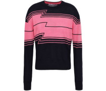 Wool, Silk And Cashmere-blend Intarsia Sweater Navy