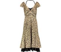 Cypress leopard-print silk-satin midi dress