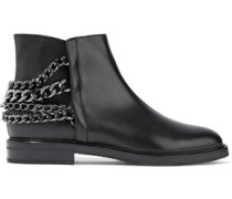 Chain-trimmed Leather Ankle Boots Black