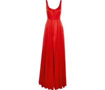 Split-front Satin And Pleated Chiffon Gown Red Size 14