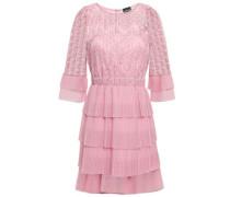 Tiered Macramé  Lace And Crochet-knit Mini Dress Baby Pink