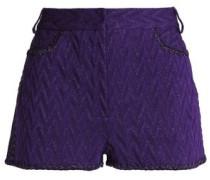 Metallic crochet-knit shorts