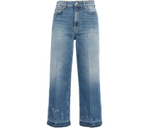 Cropped Distressed High-rise Wide-leg Jeans Mid Denim  3