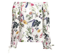 Off-the-shoulder Floral-print Satin-twill Top White