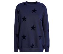 Flocked French Cotton-terry Sweatshirt Navy