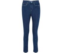 Jacquard Mid-rise Slim-leg Jeans Mid Denim