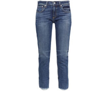 Cropped Frayed Low-rise Skinny Jeans Mid Denim  5