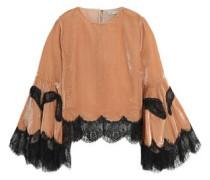 Lace-trimmed ruffled velvet top