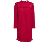 Ruffle-trimmed Satin-crepe Mini Dress Crimson