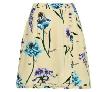 Ruffle-trimmed Floral-print Crepe Mini Wrap Skirt Pastel Yellow