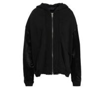 Satin-paneled French Cotton-terry Hooded Jacket Black