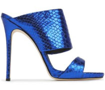 Metallic Snake-effect Leather Sandals Bright Blue